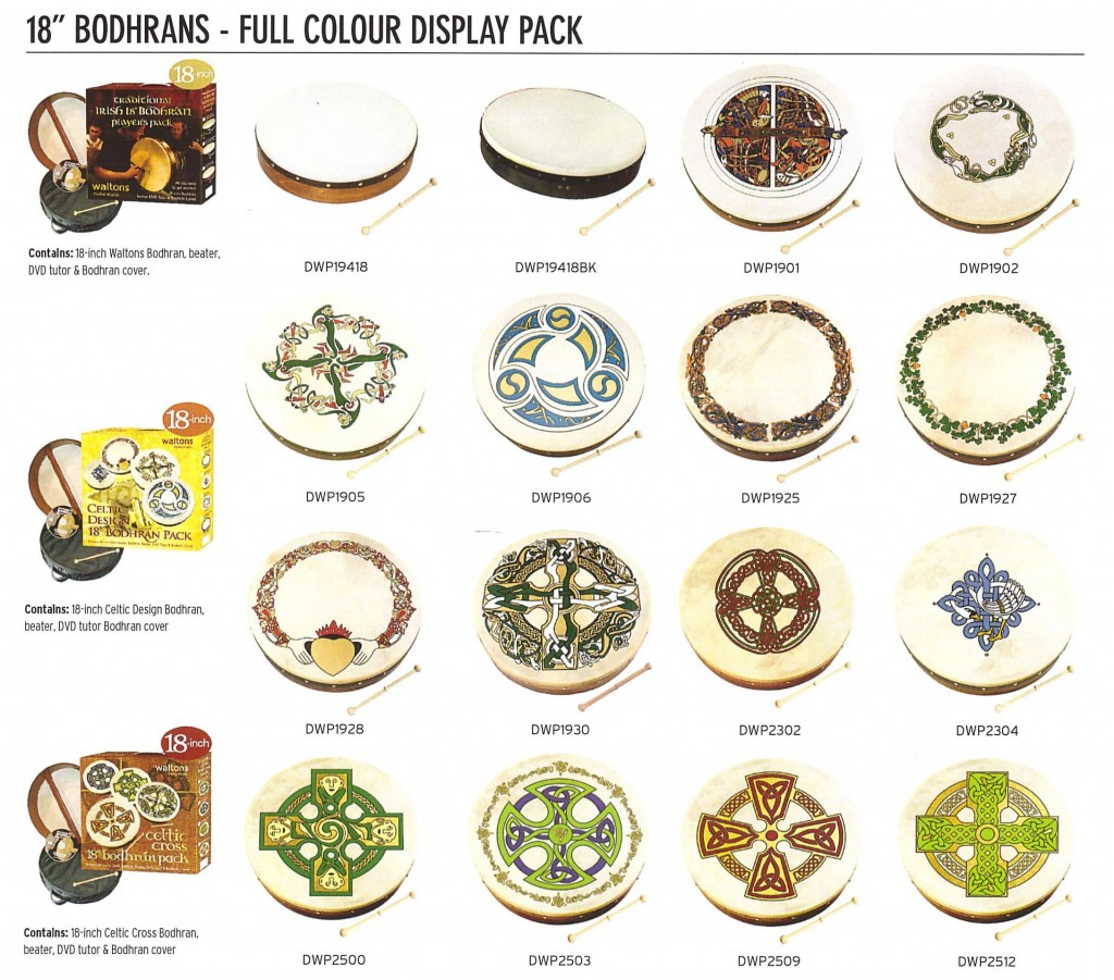 "18"" Bodhran Packs with 18"" Bodhran, Beater, Carry Bag plus DVD. Each 18"" Pack is $99.00"