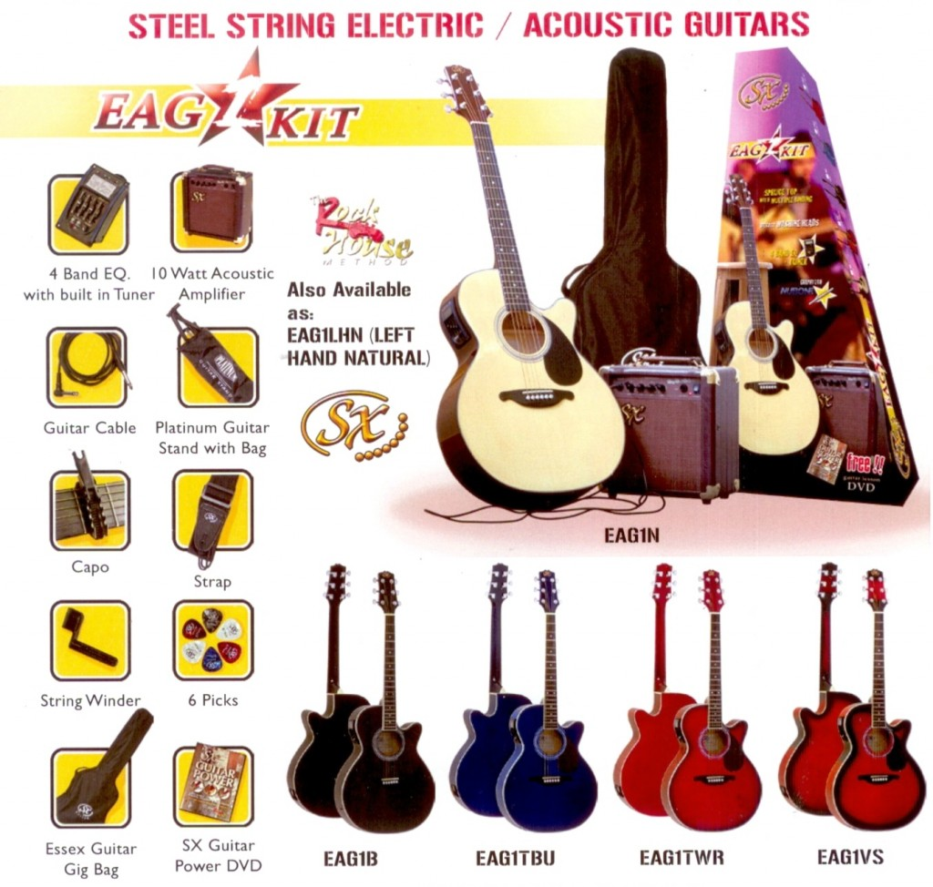 Essex Acoustic/Electric Guitar & Amp Pack $369
