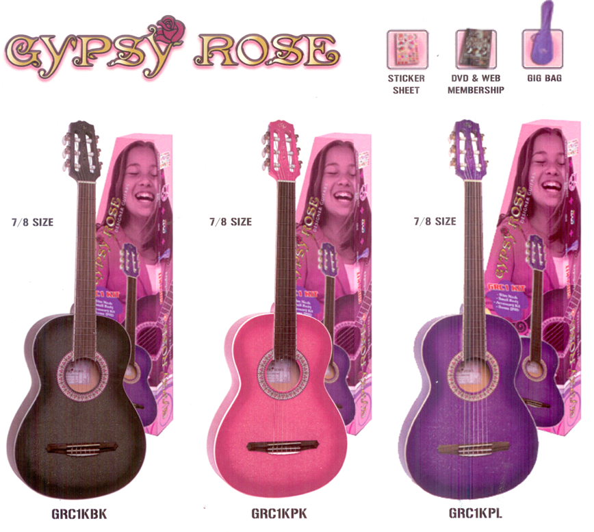 Gypsy Rose Classical Guitar Pack (in 3 grat colours) $119