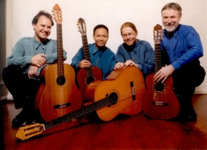 "An early incarnation of ""Guitar Trek"" with (from left to right) Mark Norton, Minh Le Hoang, Daniel McKay & Tim Kain"