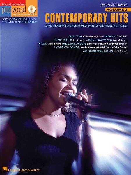 Code:740246 Contemporary Hits-This edition for Female singers includes 8 of today's top hits: Beautiful (Christina Aguilera) • Breathe (Faith Hill) • Complicated (Avril Lavigne) • Don't Know Why (Norah Jones) • Fallin' (Alicia Keys) • The Game of Love (Santana feat. Michelle Branch) • I Hope You Dance (Lee Ann Womack with Sons of the Desert) • My Heart Will Go On (Celine Dion). $31.95