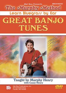 Code: 506390    $59.95   By Murphy Henry with Casey Henry. For Banjo 5 String. Solos. Learn Music by Ear. Bluegrass. Intermediate. DVD. Duration 135. Published by Murphy Method (MB.22046DVD).  Great Banjo Tunes (formerly titled Advanced Banjo) (Now on DVD!) Six challenging new tunes are taught including Don Reno's Limehouse Blues and Dixie Breakdown. Basic melodic licks, new chord positions, and jazzy Reno sounds are introduced. Guest teacher for Kansas City Railroad Blues is Casey Henry. No Tab. Also includes The Goldrush, Bill Cheatum, and Shenandoah Breakdown.