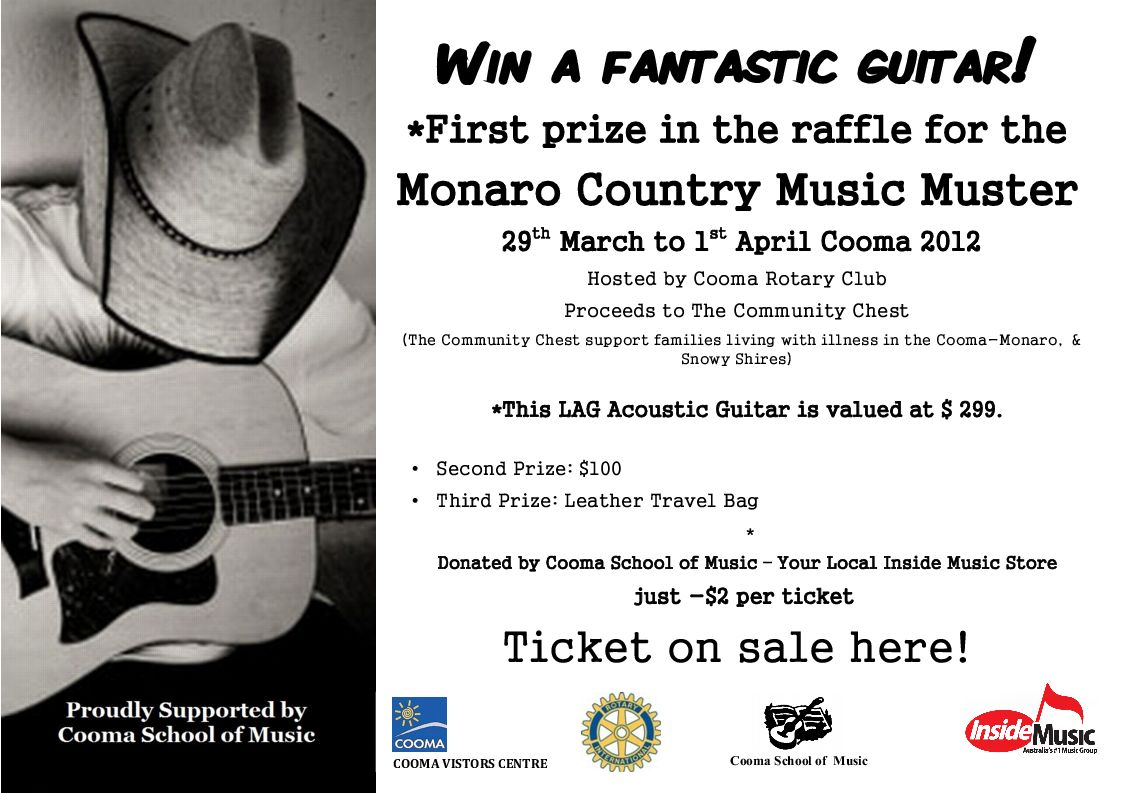 monaro country music muster raffle sign