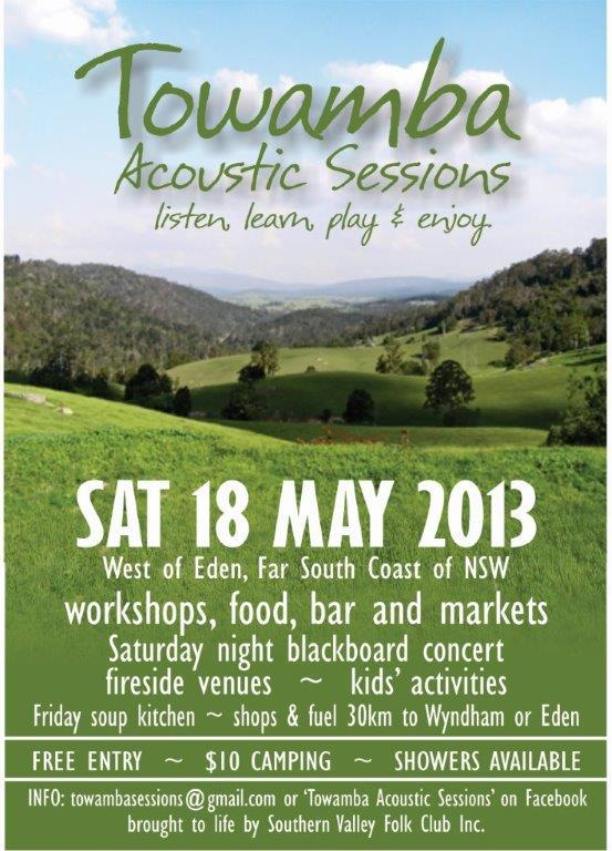 TOWAMBA ACOUSTIC SESSIONS 2013 POSTER