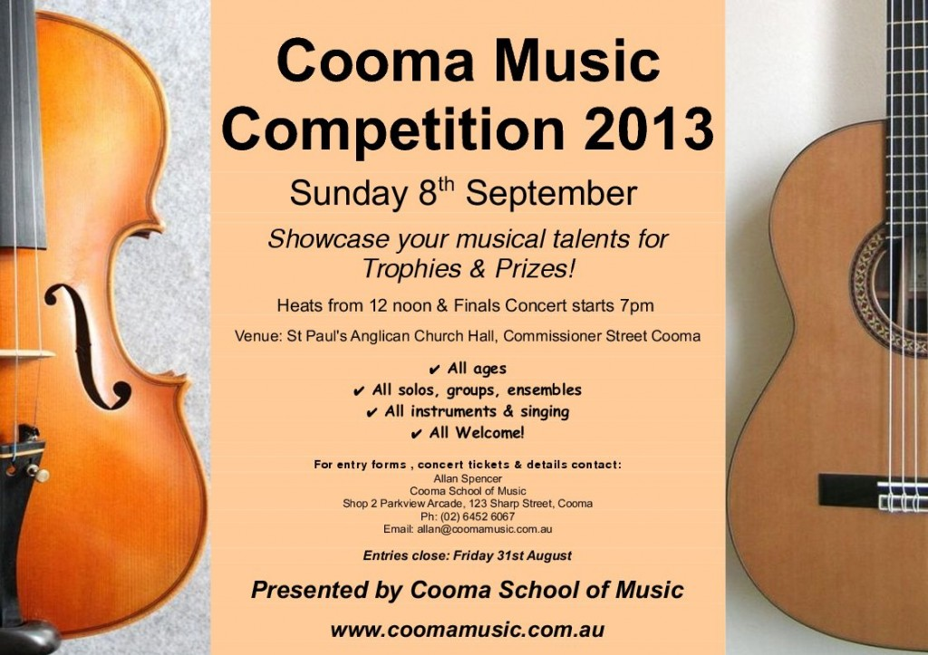 cooma music competition 2013 poster