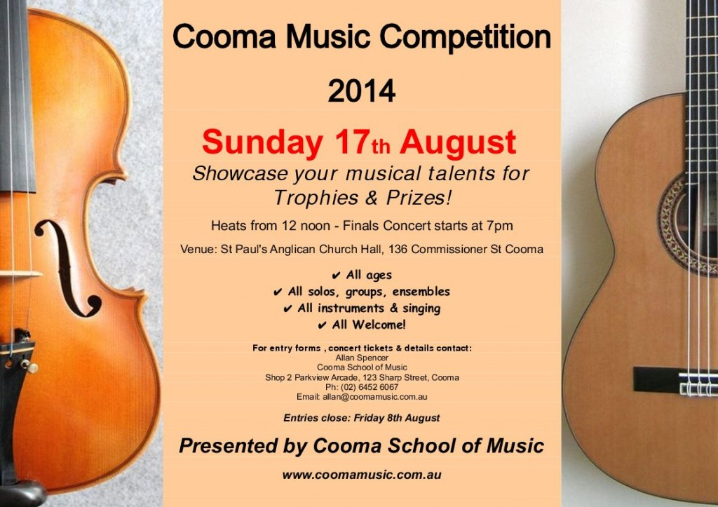 cooma music competition 2014 poster