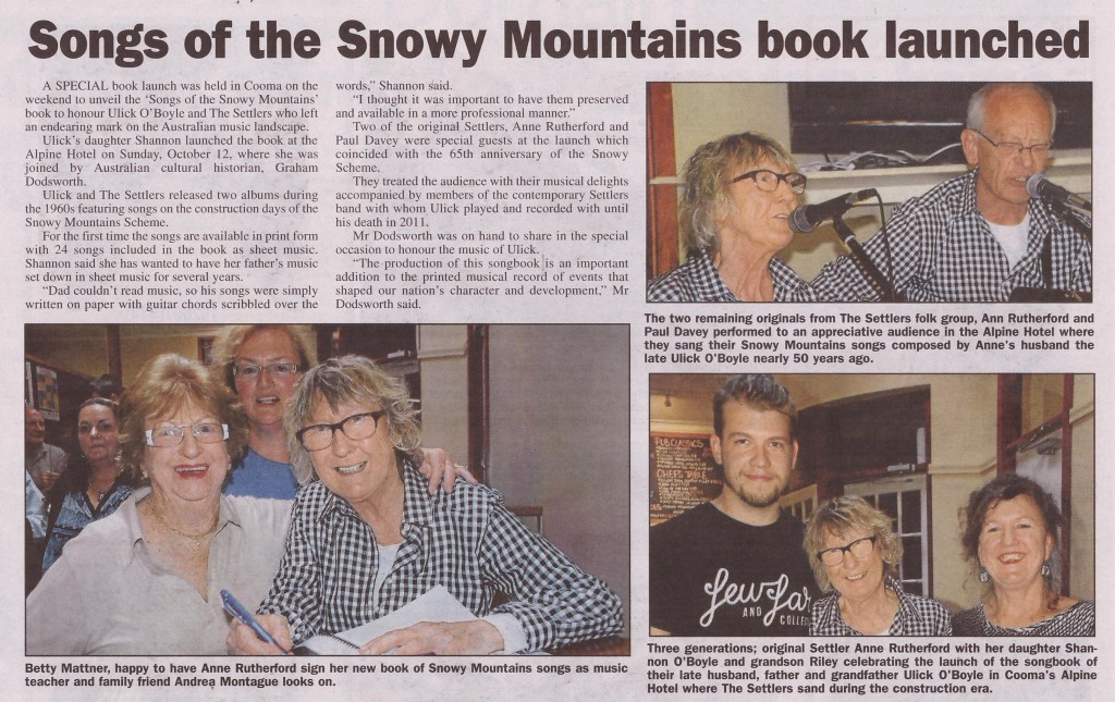 Cooma Monaro Express article Thursday 23 October