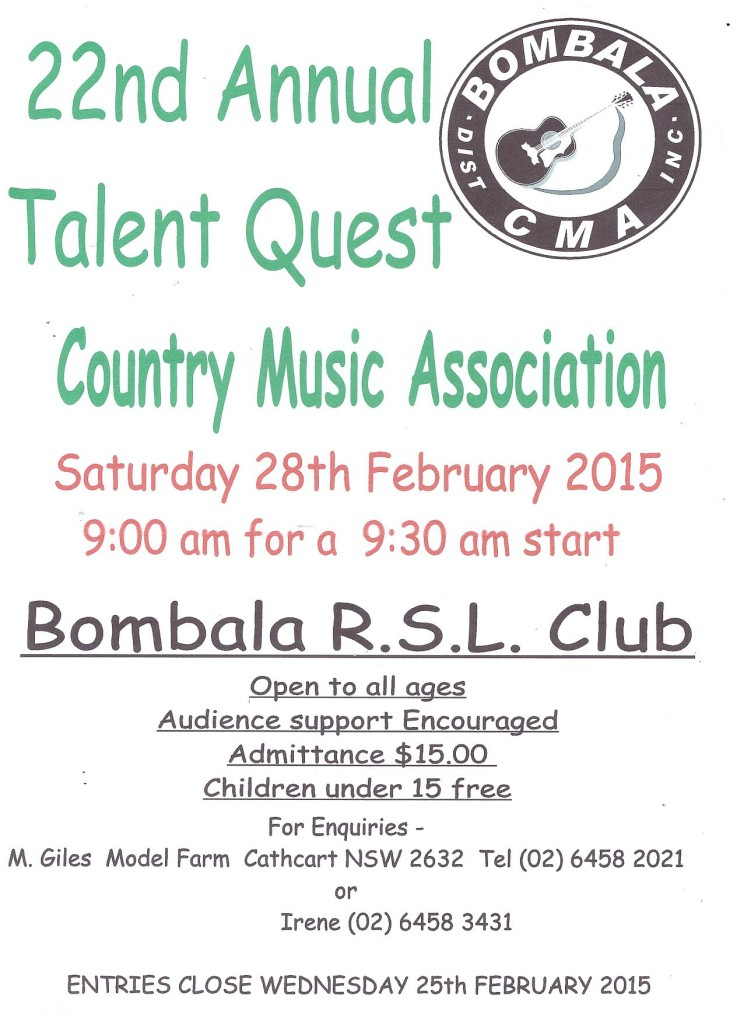 BOMBALA TALENT QUEST 22 ANNUAL POSTER