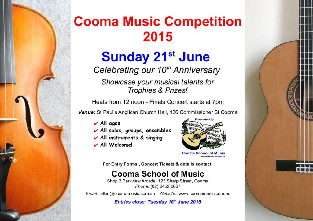 cooma music competition 2015 poster
