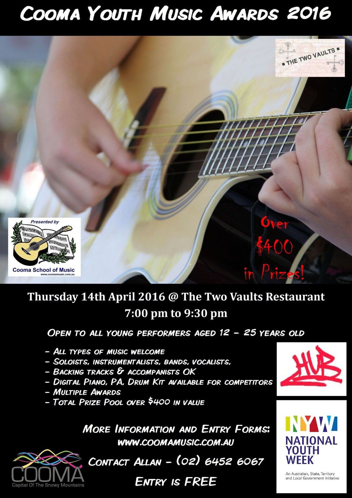 2016 cooma youth music awards poster