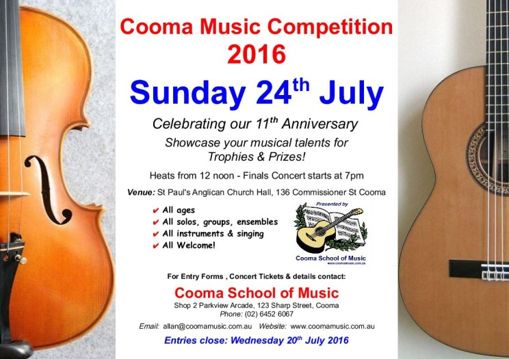 cooma music competition 2016 poster