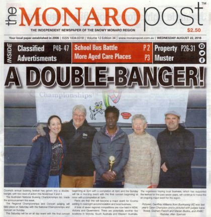 MONARO POST FRONT PAGE 22 AUGUST 2018 full